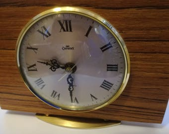 Retro Teak & Brass Mantel Clock Coronet Quartz Germany Working