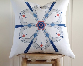 Decorative Pillow Cover, half linen - OLYMPIA SAPPHIRE