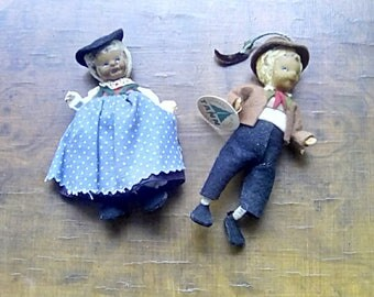 Vintage Handmade Tann Figures Collectable Souvenir Dolls Miniature Austrian Dolls