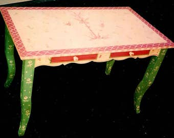 hand painted desk, painted furniture, painted computer desk