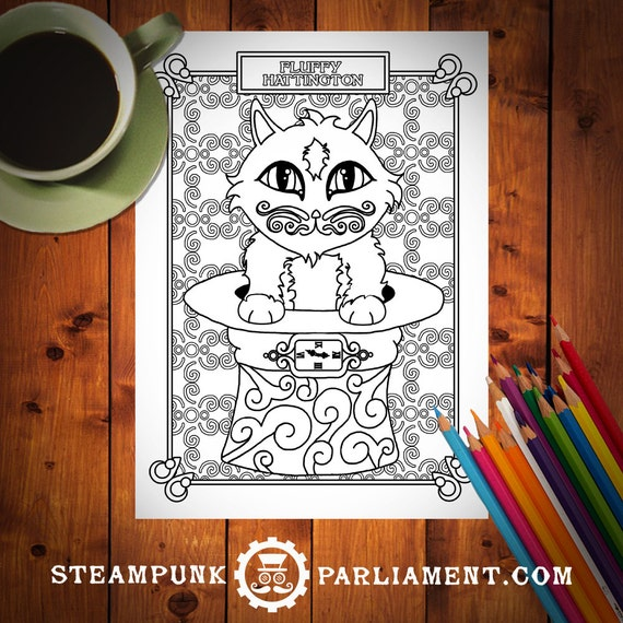 Kitty Time - Fluffy Hattington Coloring Page