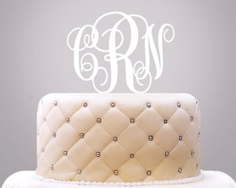 Wedding Cake Topper, Monogram Initials Cake Topper - Set of 1