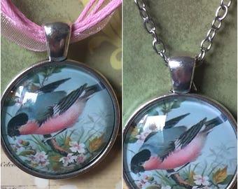 Rosy Robin Art Pendant Necklace