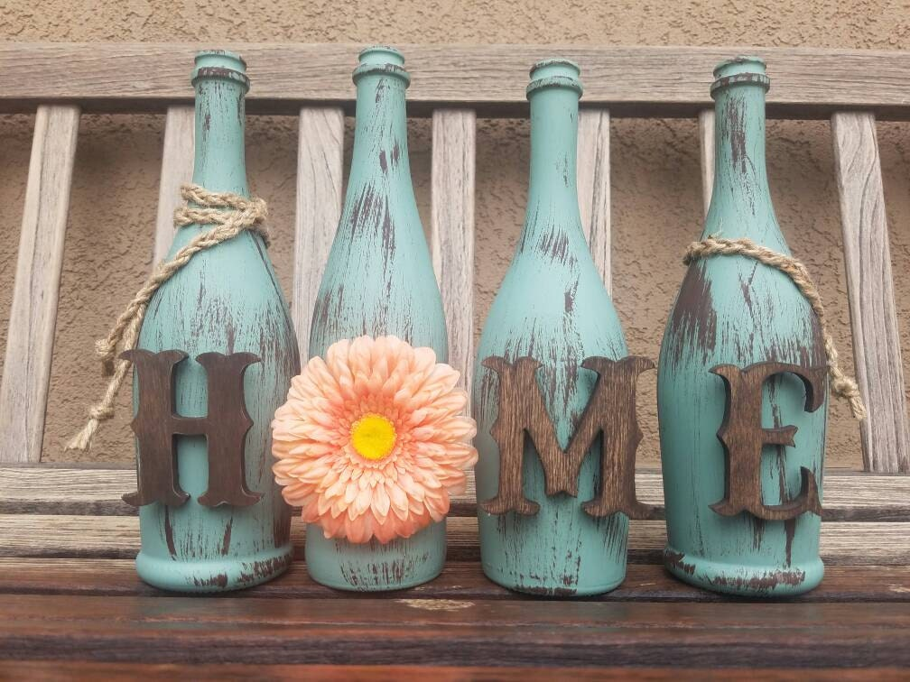 Decorated Wine Bottles. Home Decor. Painted Wine Bottles