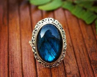 Labradorite Ring, Silver Labradorite Ring, Blue fire Labradorite Ring, Cocktail Ring, Handmade Pure 925 Sterling Silver Labradorite Jewelry