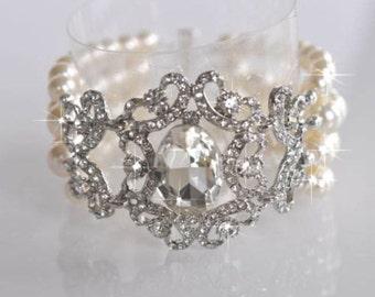 Handmade Vintage Inspired Pearl and Crystal Rhinestone Bridal Bracelet (Pearl-461)
