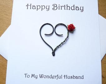 Happy Birthday card -  Husband Wife birthday card -  Iron heart