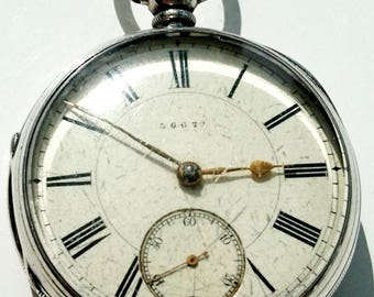 Lovely 1890 English heavy solid silver fusee pocket watch
