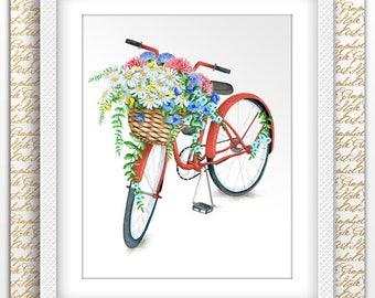 Bike Poster Bike Art Bike Watercolor Art Bike Print Bike Nursery Wall Floral Bike Wall Bicycle Print Vintage Bicycle Floral Art Vintage Gift
