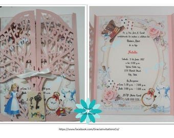 Alice in Wondland Invitations for Quince, Quinceanera invitations, Birthday, Wedding, Baby Shower