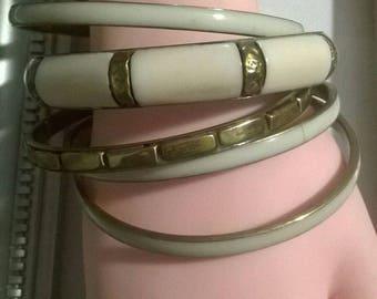 bronzetone cream 5 pc bangle bracelet set boho bohemian