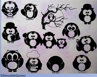Owls silhouette, Owls Digital Clipart, Black Silhouette