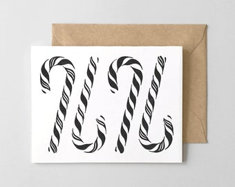 BOXED SET OF 6 - Candy Canes Letterpress Greeting Card