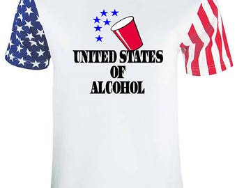 4th Of July Adult Stars And Strips United States Of Alcohol USA Flag Tee Shirt White Star Strips T-Shirt