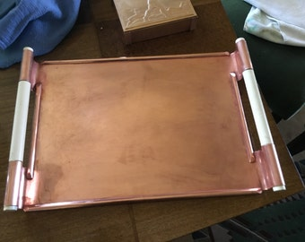 Copper Tray with bakelite handles