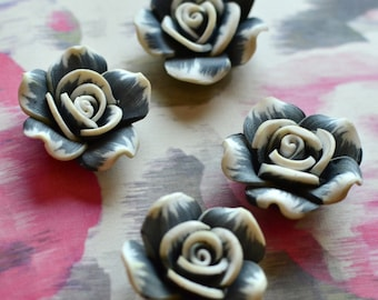 2 pc resin flowers I Black resin flowers I Polymer clay flowers I Scrapbooking embellishment I Crafting flowers I Resin rose flower I Rose
