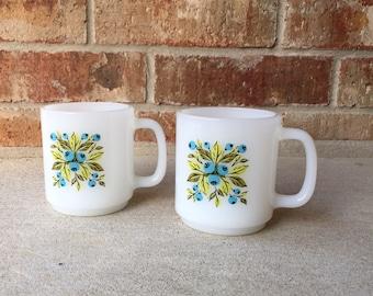 Pair of Milk Glass Blue Flower Mugs