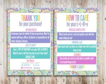 Custom Care Cards Personalized Home Office Approved Font and Colors Paisley LuLa Thank You Cards Digital Care Cards LLR Teams