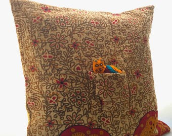 UPCYCLED KANTHA 'Catnap' Cushion with POCKET Cat (Red/Brown)!