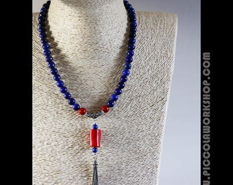 Handmade GradeA Natural Lapis Lazuli Beads,Red Coral,Sterling Silver Tassel Necklace