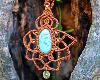 Macrame Necklace, Boho Jewelry, Gemstone necklace, Turquoise necklace,