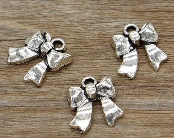 20pcs Bow Charms Wedding Ribbon Charms Antique Silver Tone 17x19mm cf1944