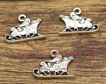 20pcs Santa Sleigh Charms 2 Sided Christmas Charms Antique Silver Tone 16x22mm cf1306