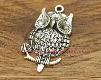 10pcs Large Owl Charms Pendants Bird Charms Antique Silver Tone 40x23mm cf1648