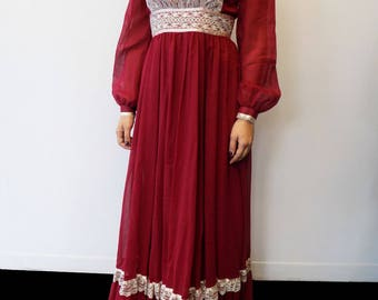 Vintage Gunne Sax Red Long Sleeve Bridal Collection