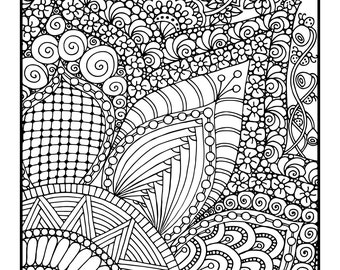 Energized, 1 Adult Coloring Book Page, Printable Instant Download, Karen Lukens