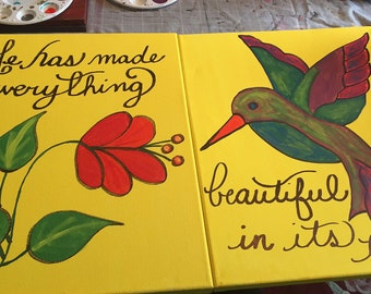Hand painted canvas with bible verse