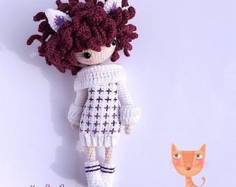 Crochet Doll Pattern - Kayla B 凯拉 B. (Wildcat Girl)