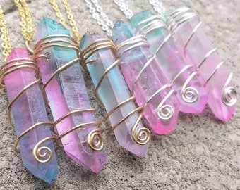 MADE TO ORDER- Pastel Cotton Candy Quartz Crystal Wire Wrapped Necklaces- Pink Aqua Blue Pastel Goth Gypsy Wiccan Boho Hippie Jewelry Kawaii