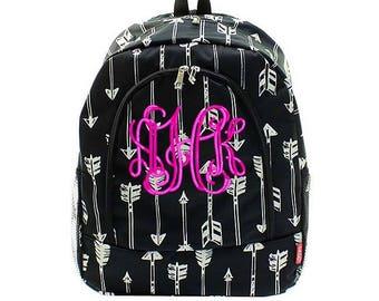 Black Arrows backpack, Monogrammed bookbag