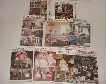 12)  Craft Patterns.  Factory Fold.  Home Furnishings.  Doll House.  Rag Dolls.  Christmas Doll Ornaments.