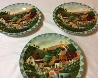 Three French  Country Life Barn Farm House Scene Salad Plates Made in Indonesia
