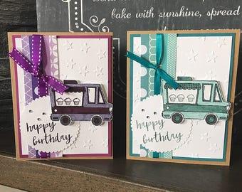 Cupcake Truck Birthday Card // Handmade Card