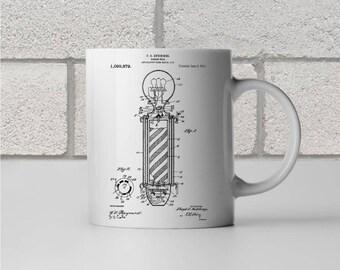 Barber Pole Patent Art Mug Gift, Barber Pole Mug, Barber Shop, Barber Shop Gift, Barber Gift, Stylist Gift, Coffee Mug, Patent Print