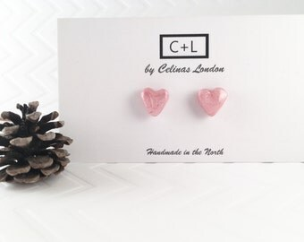 Classic Pink Hearts - Baby pink heart earrings - Pearly pink heart studs