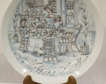 Vintage Haviland Limoges Plate,  A Mother's Day-Breakfast, Limited Edition Plate,  Collectible Plate