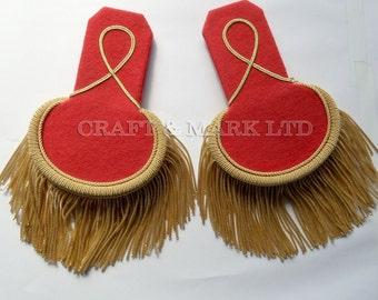 Red Dress Epaulets | Uniform Epaulette Shoulders | Red Shoulder Boards | Epaulettes