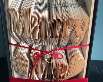 Marry Me - folded book art - wedding proposal - ribbon to add your engagement ring- Ring NOT included!