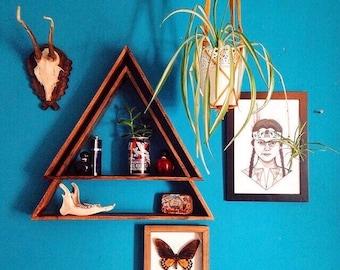 Triangle Shelving, Wood Triangle Shelving, Wood Triangle Shelves, Triangle Shelves, Wooden Shelves, Wooden Shelving, Geometric Shelves, Boho