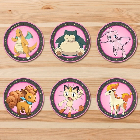 Pokemon Cupcake Toppers - Pink Chalkboard - Girl Pokemon Toppers - Pokemon Party - Pokemon Sticker Printables - Snorlax Dragonite - Set B