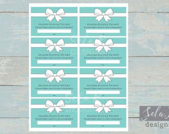 Baby and Co Themed Baby Shower Diaper Raffle Tickets Teal Aqua Blue and White Raffle Ticket