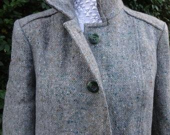 Irish Designer Jimmy Hourihan, Pure new wool tweed coat. Uk 12