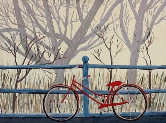 Break Time    Original hand painted artwork,  bikepath art, bicycle painting.
