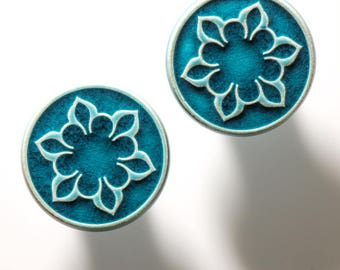 Ceramic knobs for furniture, No.2, turquoise