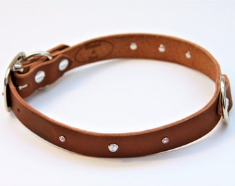 Large Genuine Leather Dog Collar (Walnut) 21''