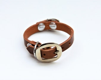 XX-Small Cat Collar Genuine Leather (DarkBrown) 9''